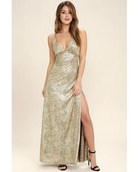 Женское золотое платье-макси с разрезом от LuLu*s