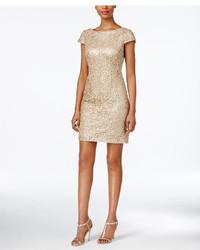 Женское золотое платье-футляр с пайетками от Adrianna Papell