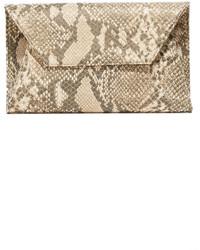 Женский золотой кожаный клатч со змеиным рисунком