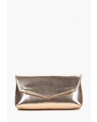 Золотой кожаный клатч от Dorothy Perkins