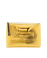 Золотой кожаный стеганый клатч от Corto Moltedo