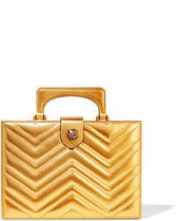 Женский золотой кожаный стеганый клатч от Gucci
