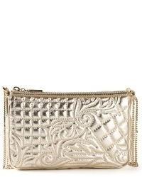Женский золотой кожаный стеганый клатч от Versace