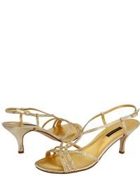 Золотые босоножки на каблуке с пайетками