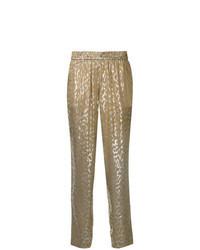 Золотые брюки-галифе с принтом