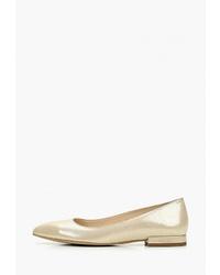 Золотые кожаные балетки от Fagro