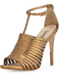 Золотые кожаные босоножки на каблуке