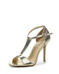 Золотые кожаные босоножки на каблуке от Dino Ricci Select
