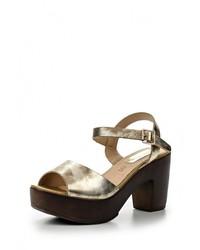 Золотые кожаные босоножки на каблуке от Lola Blue