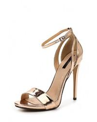 Женские золотые кожаные босоножки на каблуке от LOST INK