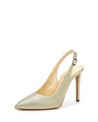 Золотые кожаные босоножки на каблуке от Made in Italia