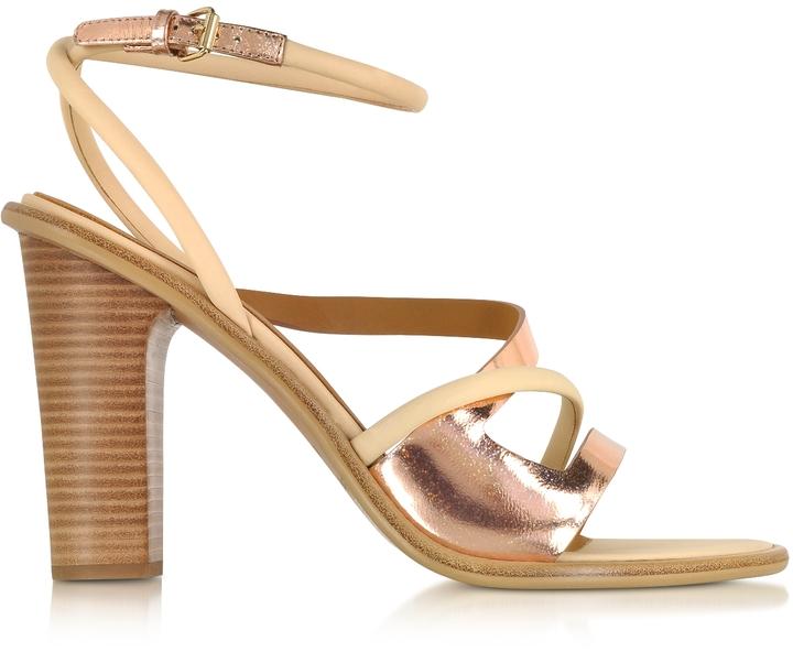 39622d831da4 Женские золотые кожаные босоножки на каблуке от See by Chloe | Где ...