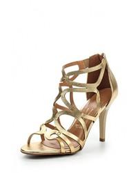 Золотые кожаные босоножки на каблуке от Vizzano