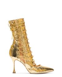 Золотые кожаные ботильоны на шнуровке со змеиным рисунком от Liudmila