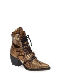 Золотые кожаные ботильоны на шнуровке с вырезом