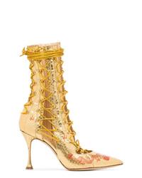 Золотые кожаные ботильоны на шнуровке