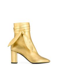 Золотые кожаные ботильоны от Saint Laurent
