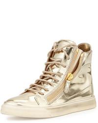 Золотые кожаные высокие кеды