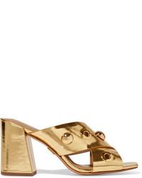 Золотые кожаные сабо с украшением от Michael Kors