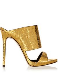 Золотые кожаные сабо