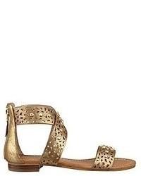 Золотые кожаные сандалии на плоской подошве
