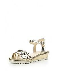 Золотые кожаные сандалии на плоской подошве от Encor
