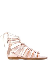 Женские золотые кожаные сандалии на плоской подошве от Jimmy Choo
