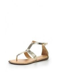 Золотые кожаные сандалии на плоской подошве от Vivian Royal
