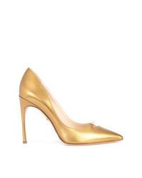 Золотые кожаные туфли