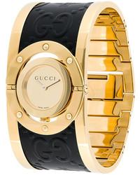 Женские золотые кожаные часы от Gucci
