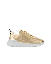 Женские золотые кроссовки от Tod's