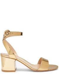 Золотые сатиновые босоножки на каблуке
