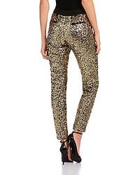 Золотые узкие брюки с пайетками