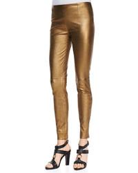 Золотые узкие брюки