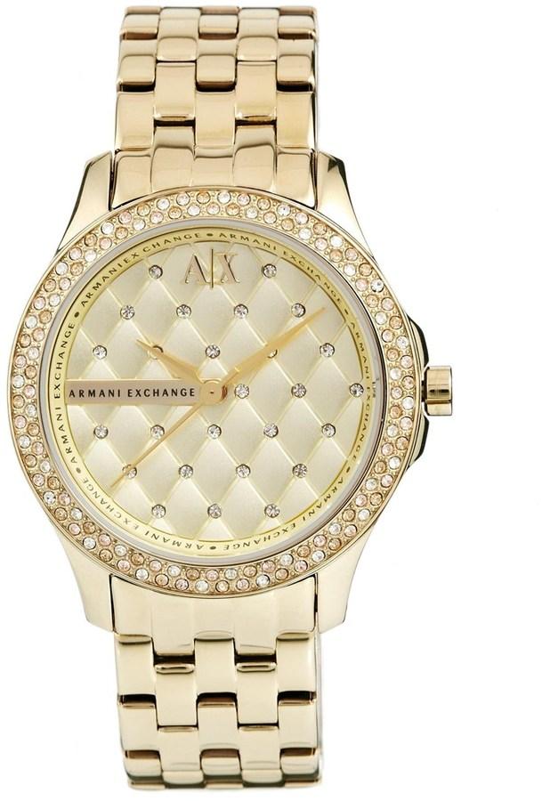 Женские золотые часы от Armani Exchange   Где купить и с чем носить 8ec3495442c