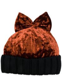 Женская коричневая бархатная шапка от Federica Moretti