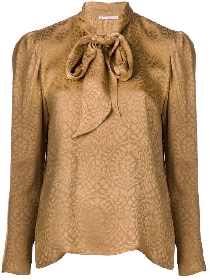 b9d9b3a9a70 ... Коричневая блузка с длинным рукавом от Saint Laurent