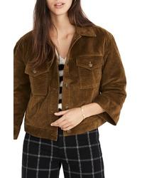 Коричневая вельветовая куртка-рубашка