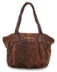 Коричневая замшевая большая сумка с леопардовым принтом