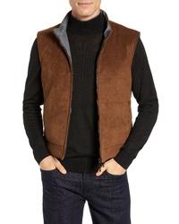 Коричневая замшевая куртка без рукавов