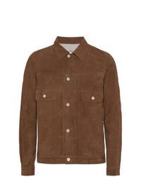 Коричневая замшевая куртка-рубашка