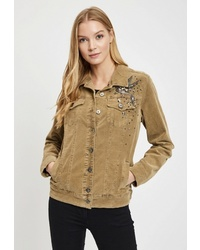 Женская коричневая замшевая куртка-рубашка от DSHE