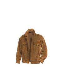 Коричневая замшевая куртка с воротником и на пуговицах