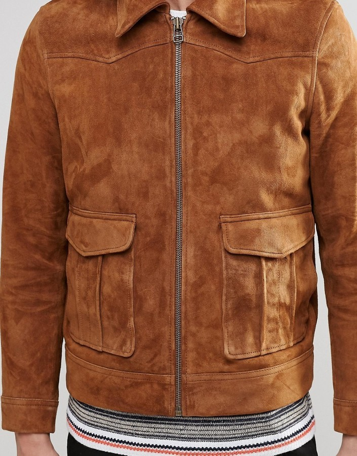 4782f57071b Мужская коричневая замшевая куртка от Weekday