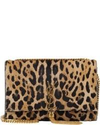Коричневая замшевая сумка через плечо с леопардовым принтом