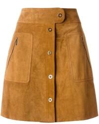 Коричневая замшевая юбка на пуговицах