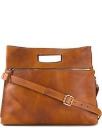 Мужская коричневая кожаная большая сумка