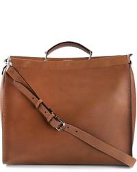 Мужская коричневая кожаная большая сумка от Fendi