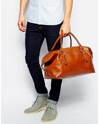 Мужская коричневая кожаная дорожная сумка от Asos