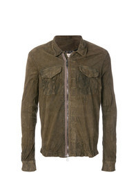 Коричневая кожаная куртка-рубашка